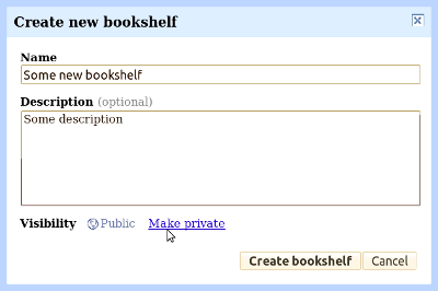 Creating a new bookshelf in Google Books